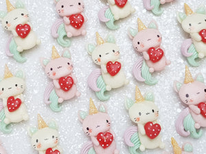Clay Charm Embellishment - NEW Caticorn Heart - Crafty Mood