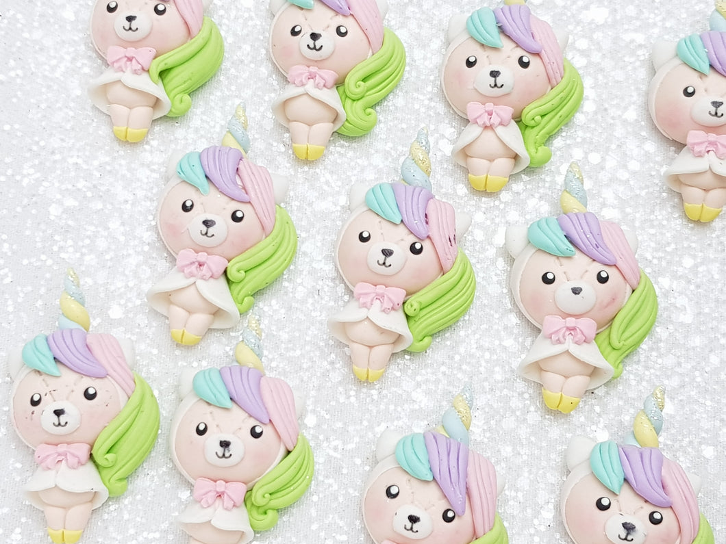 Clay Charm Embellishment - NEW Bear Unicorn - Crafty Mood