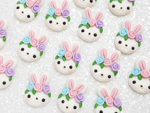 Clay Charm Embellishment - NEW Bunny Head Pastel Pink - Crafty Mood
