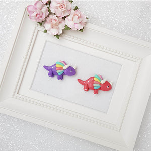 Clay Charm Embellishment - Dino - Purple and Red - Crafty Mood
