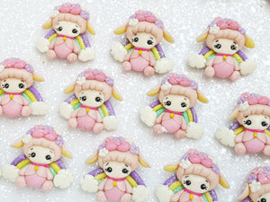 Clay Charm Embellishment - NEW Rainbow Sheep Pink - Crafty Mood