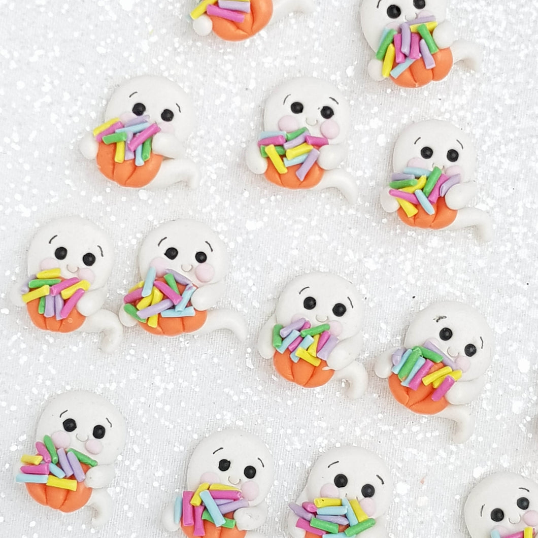 Clay Charm Embellishment - Candy Ghost - Crafty Mood