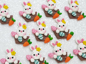 Clay Charm Embellishment - NEW Bunny Pink Nose - Crafty Mood