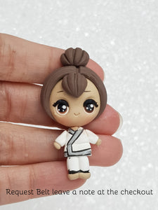 Handmade Clay Embellishment - New Big Eyes Karate Girl - Crafty Mood