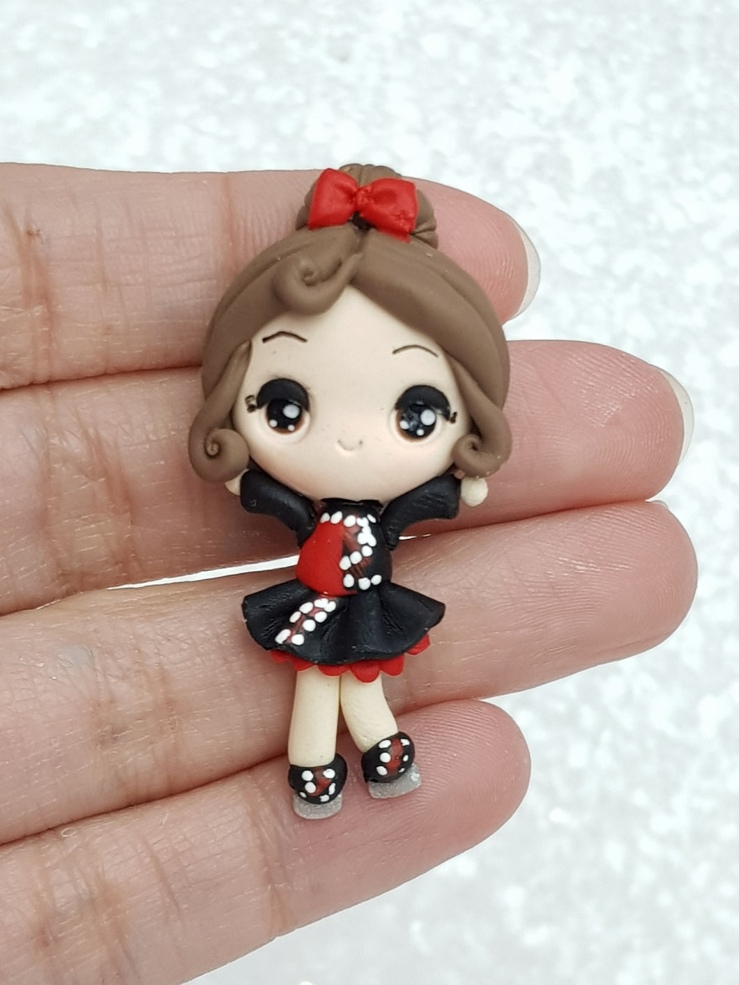 Handmade Clay Charm - New Big Eyes Ice Skating Girl