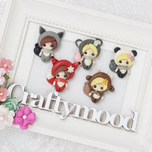 Load image into Gallery viewer, Autumn Dressing Up Girls - Handmade Flatback Clay Bow Centre