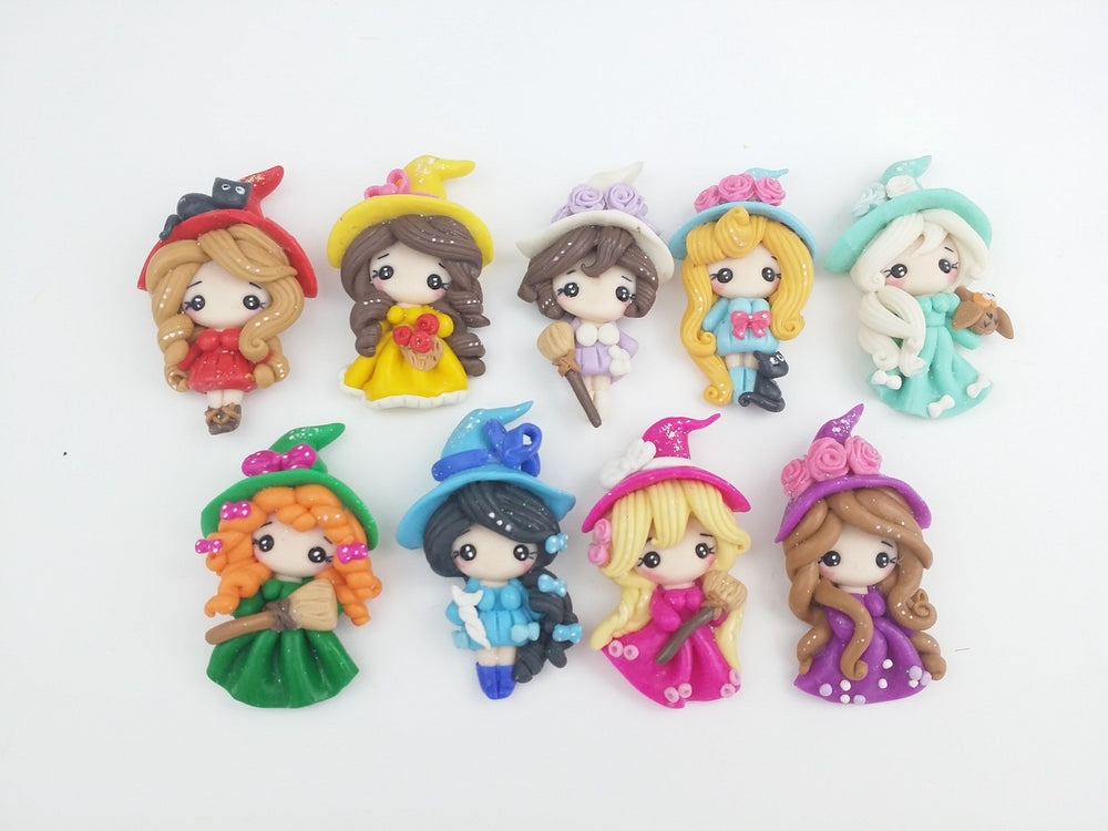 Clay Charm Embellishment - Halloween Witch - Crafty Mood