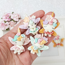 Load image into Gallery viewer, Unicorn fairies - Embellishment Clay Bow Centre - Crafty Mood