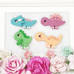 Cute Dinos Gang - Handmade Flatback Clay Bow Centre - Crafty Mood