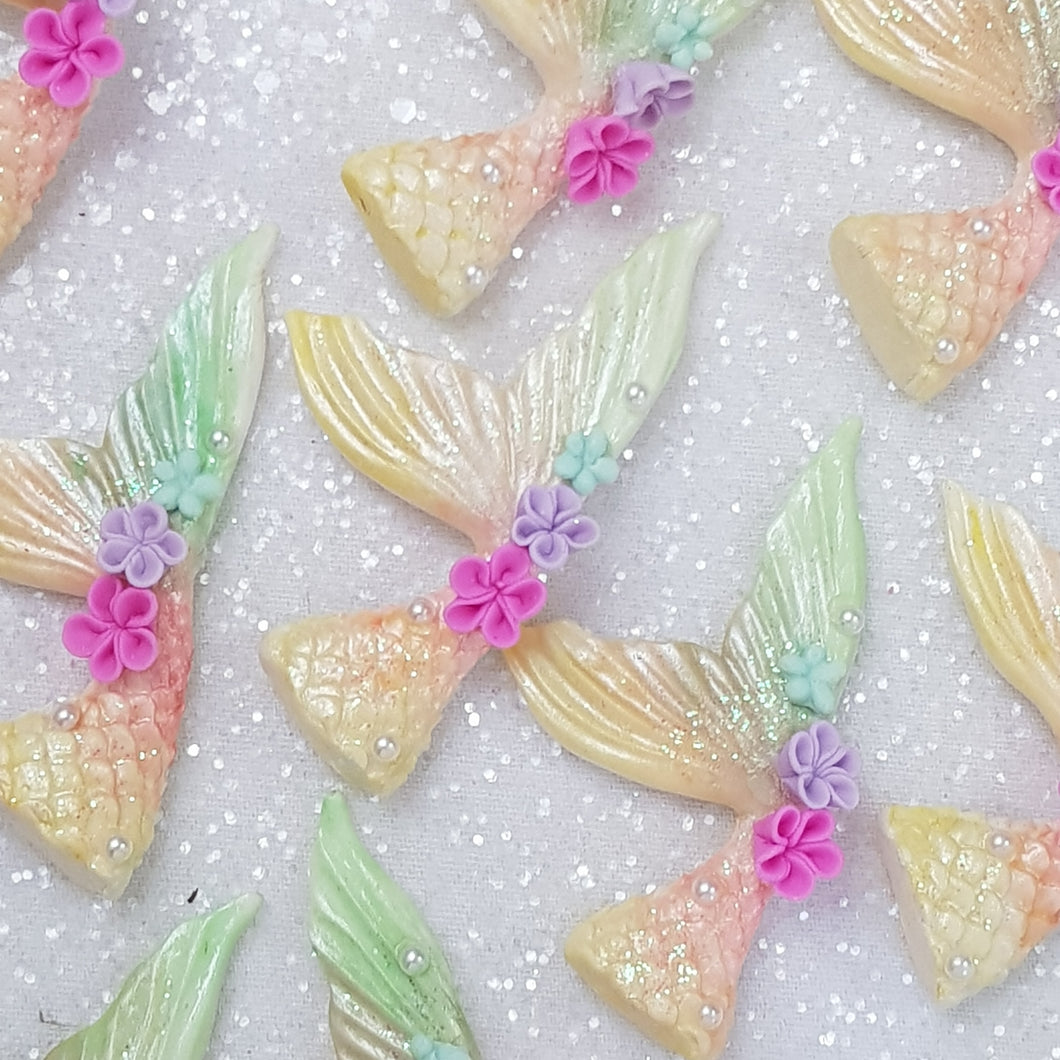 Yellow rainbow Mermaid Tail - Embellishment Clay Bow Centre - Crafty Mood