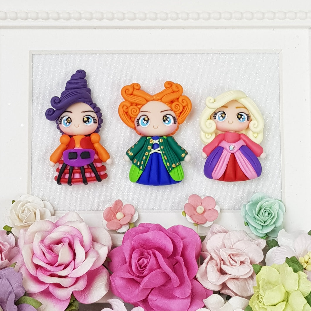 Trio Witch - Set of 3 - Embellishment Clay Bow Centre - Crafty Mood