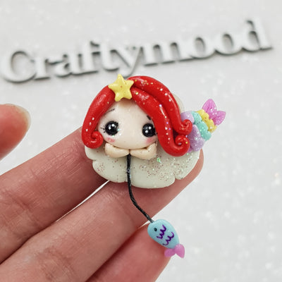 Cute Fishing Mermaid - Embellishment Clay Bow Centre