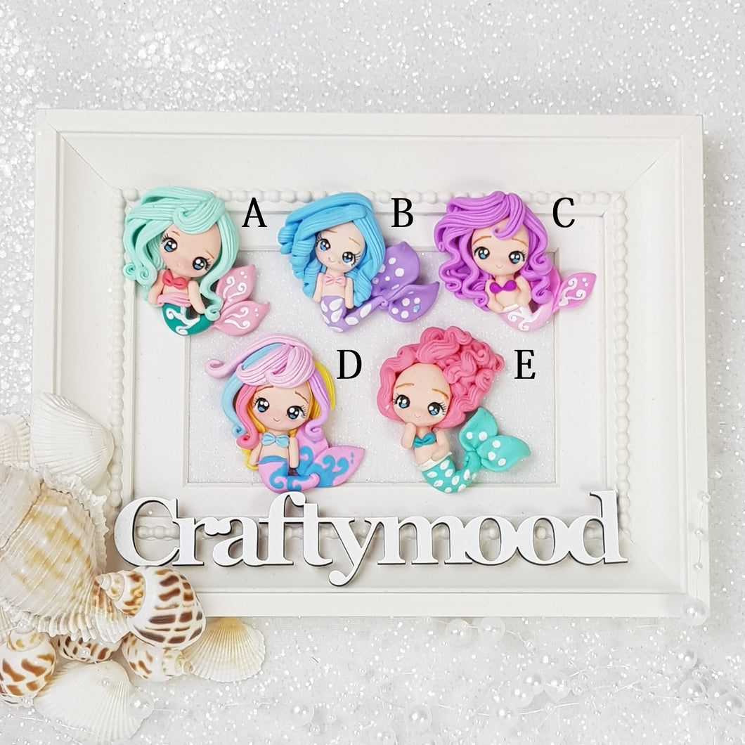 Adorable Eyes Mermaid Girls - Embellishment Clay Bow Centre