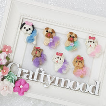 Load image into Gallery viewer, Cute Tutu Dogs - Embellishment Clay Bow Centre