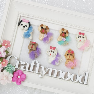 Cute Tutu Dogs - Embellishment Clay Bow Centre