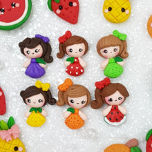 Load image into Gallery viewer, Cute Fruit Girls - Handmade Flatback Clay Bow Centre - Crafty Mood