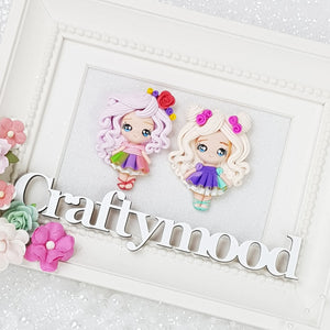 MAX 3 EACH style / PERSON - Pretty Eyes Girls - Handmade Flatback Clay Bow Centre