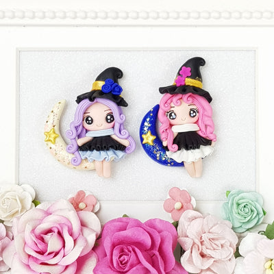 Cute Moon Witch - Embellishment Clay Bow Centre - Crafty Mood