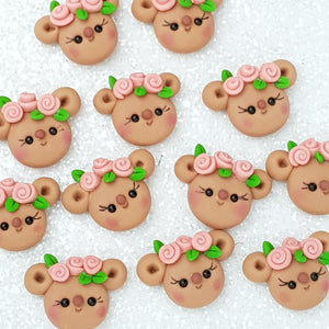 Cute bear Head - Embellishment Clay Bow Centre - Crafty Mood