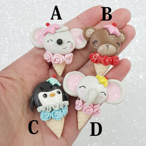 Cute Animal Ice Cream - Embellishment Clay Bow Centre - Crafty Mood