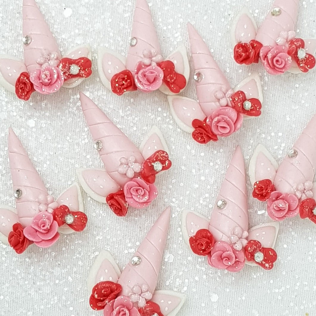 Lovely Red Pink Horn - Embellishment Clay Bow Centre - Crafty Mood