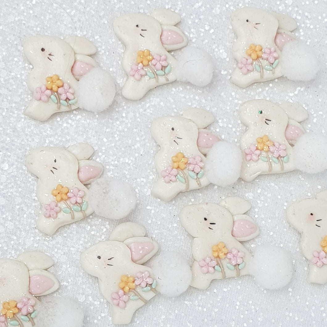 White Cotton Bunny - Embellishment Clay Bow Centre - Crafty Mood