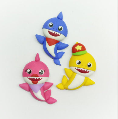 Clay Charm Embellishment new shark set of 3 SA - Crafty Mood