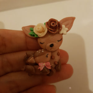 Spring Animals baby - Handmade Flatback Clay Bow Centre