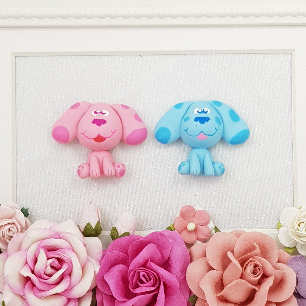 Cute Pink and Blue Dogs - Handmade Flatback Clay Bow Centre