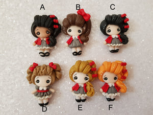 Handmade Flat Back Clay Embellishment SCHOOL GIRL - RED DETAIL - Crafty Mood
