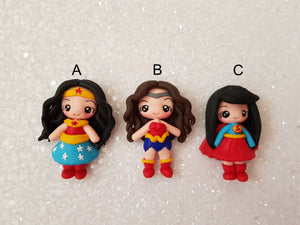 Handmade Flat Back Clay Embellishment SUPERHERO G- approx 4-5 cm - Crafty Mood