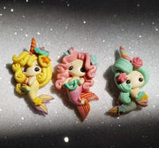 Clay Charm Embellishment - Colourful Mermaid Girls - colour changing - Crafty Mood