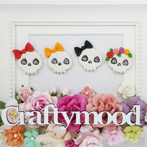 Cute Halloween Skull - Embellishment Clay Bow Centre
