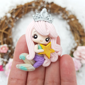 Pink Hair Queen Mermaid - Handmade Flatback Clay Bow Centre - Crafty Mood