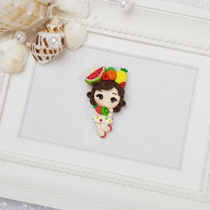 Tropical Fruit Girl - Embellishment Clay Bow Centre - Crafty Mood