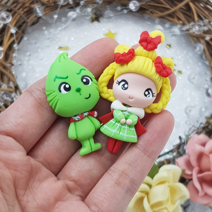 MAX 5 EACH PERSON Christmas monster and girl - Handmade Flatback Clay Bow Centre