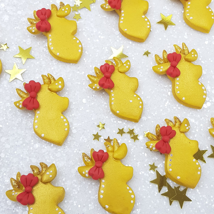 Golden Christmas deer - Embellishment Clay Bow Centre