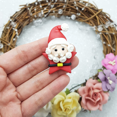 Adorable Santa star - Handmade Flatback Clay Bow Centre