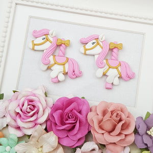 Cute pink pony - Handmade Flatback Clay Bow Centre