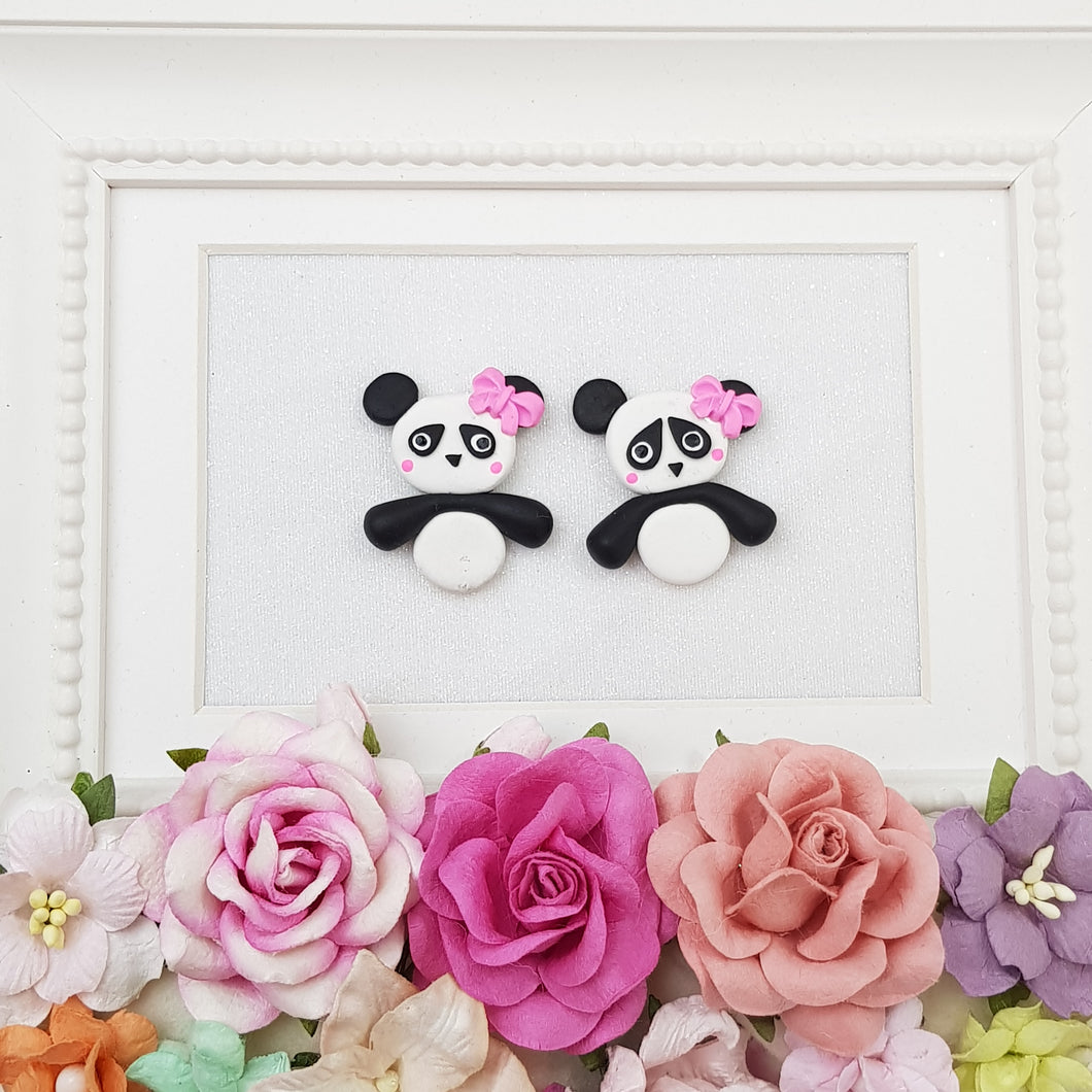 Cute pink bow panda - Embellishment Clay Bow Centre