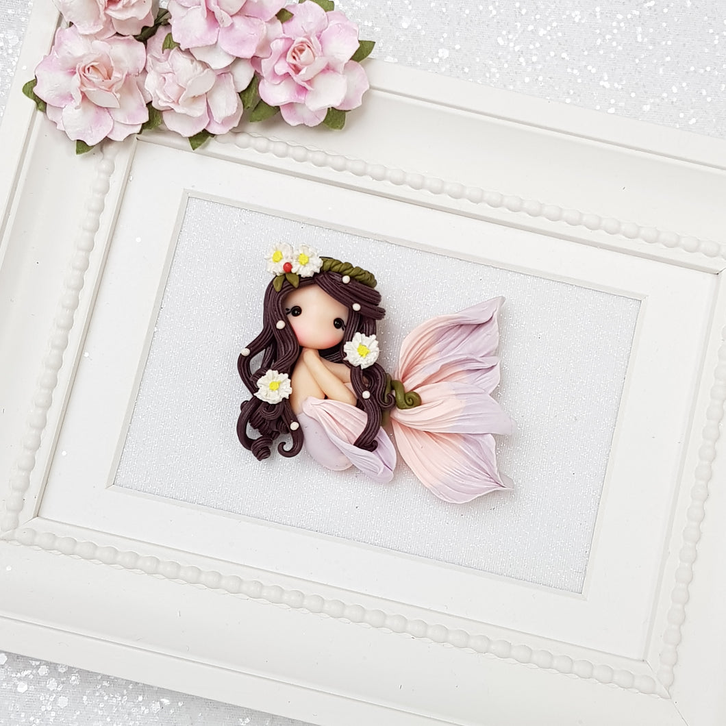 Beautiful mermaid with flower - Handmade Flatback Clay Bow Centre - Crafty Mood