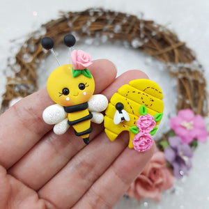 Yellow Beehive - Embellishment Clay Bow Centre
