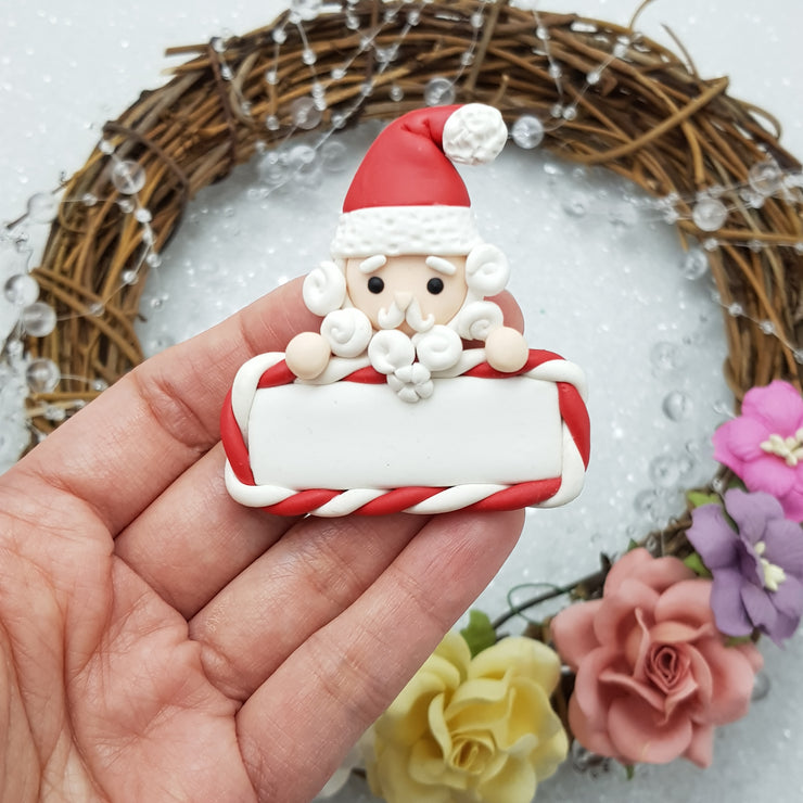 Cutie Santa plaque - Embellishment Clay Bow Centre