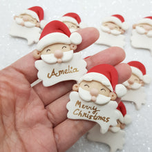 Load image into Gallery viewer, Santa Head - personalised - Handmade Flatback Clay Bow Centre