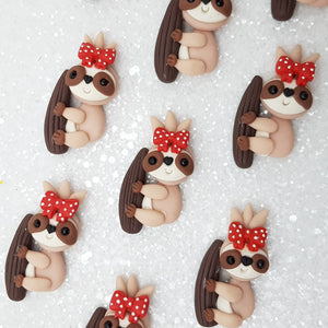 Adorable sloth - Embellishment Clay Bow Centre
