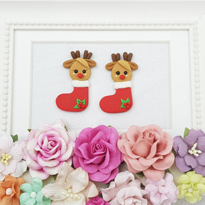 Deer in stocking - Embellishment Clay Bow Centre
