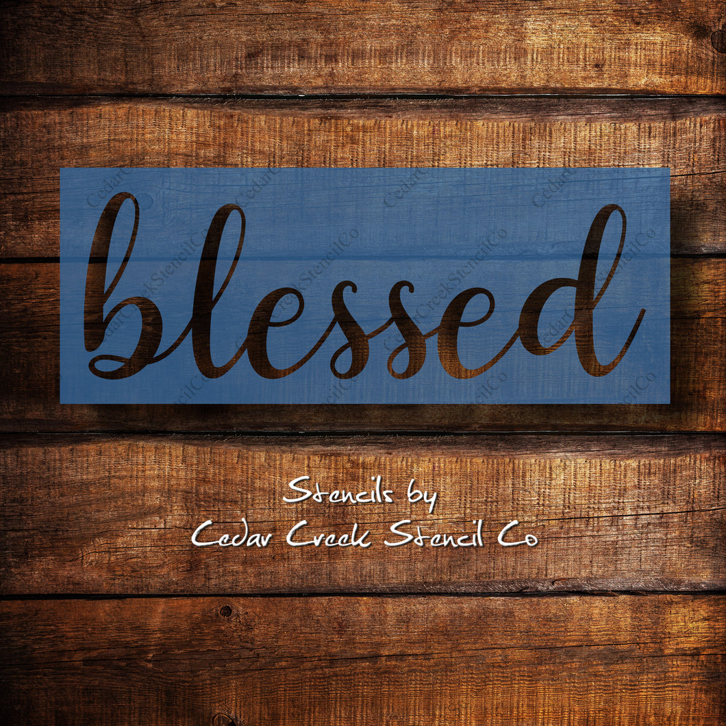 Blessed word reusable craft stencil, sign making stencil, washable stencil, farmhouse stencil, diy home decor stencil
