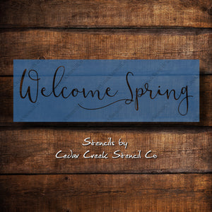 Welcome Spring stencil, reusable craft stencil, word stenci, sign making stencil, spring stencil, Easter stencil, Garden stencil