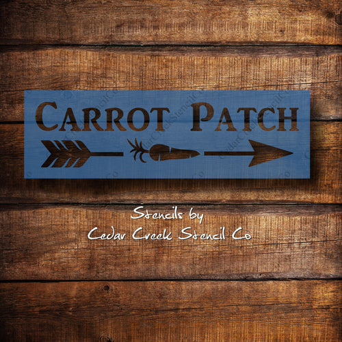 Carrot Patch with Arrow - Reusable Easter Craft Stencil