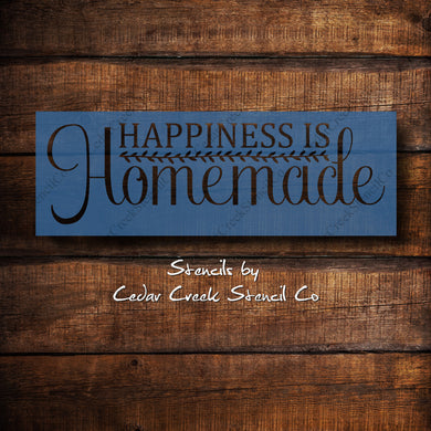 happiness is homemade kitchen stencil